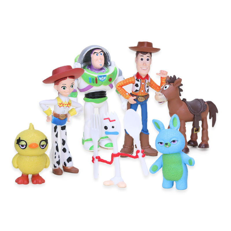 Set Of 7 3-7cm Disney Movie Toy Story 4 Woody Buzz Lightyear Jessie Forky PVC Action Figure Set Alien Lotso Collectible Model