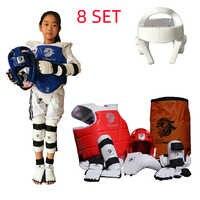 Taekwondo personnalisé ensemble de protection karaté Tkd 8 pièces casque poitrine tae kwon do et cheville Sanda boxe Match ceinture noire enfants