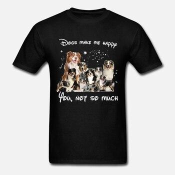 Camiseta de los hombres los perros Me hacen feliz no tanto-Camiseta de las mujeres de los pastores australianos