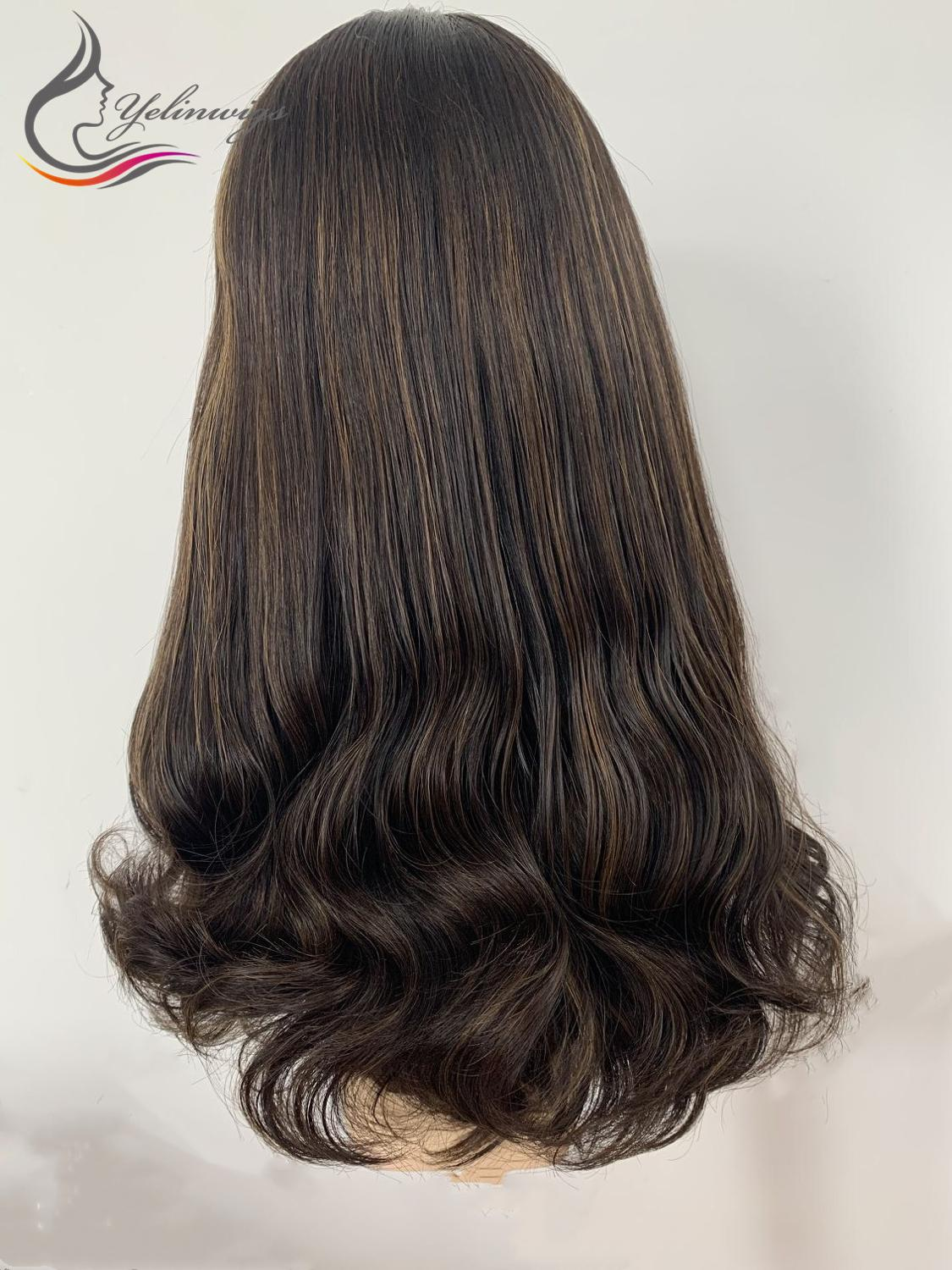 20 Inch 4/6 High Light Color  Virgin European Hair Lace Top Jewish Kosher Wig Natural Wavy Lace Top Wig