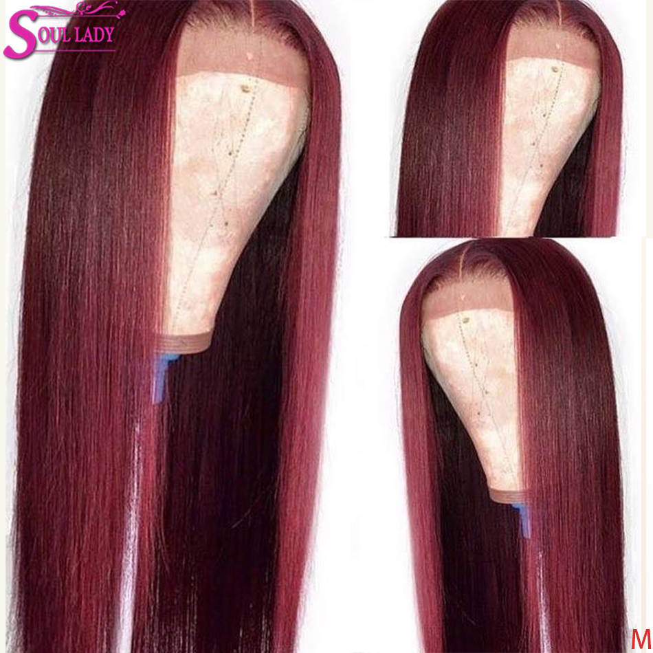 13x6 13x4 99j Lace Front Wig Ombre Burgundy Human Hair Wigs Pre Plucked Remy Brazilian Straight 360 Lace Frontal 99j Wig 150%