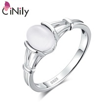 CiNily Created Opal Authentic Moonstone 925 Sterling Silver Rings for Women Party Gift Fine Jewelry Ring Size 6-10 SR001-9