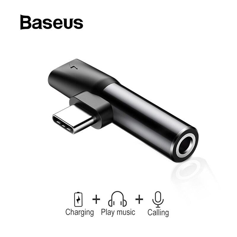 Baseus 2 em 1 usb tipo c conversor para 3.5mm aux jack adaptador usb c extensão de carregamento adaptador fone de ouvido para xiaomi 8 huawei p20
