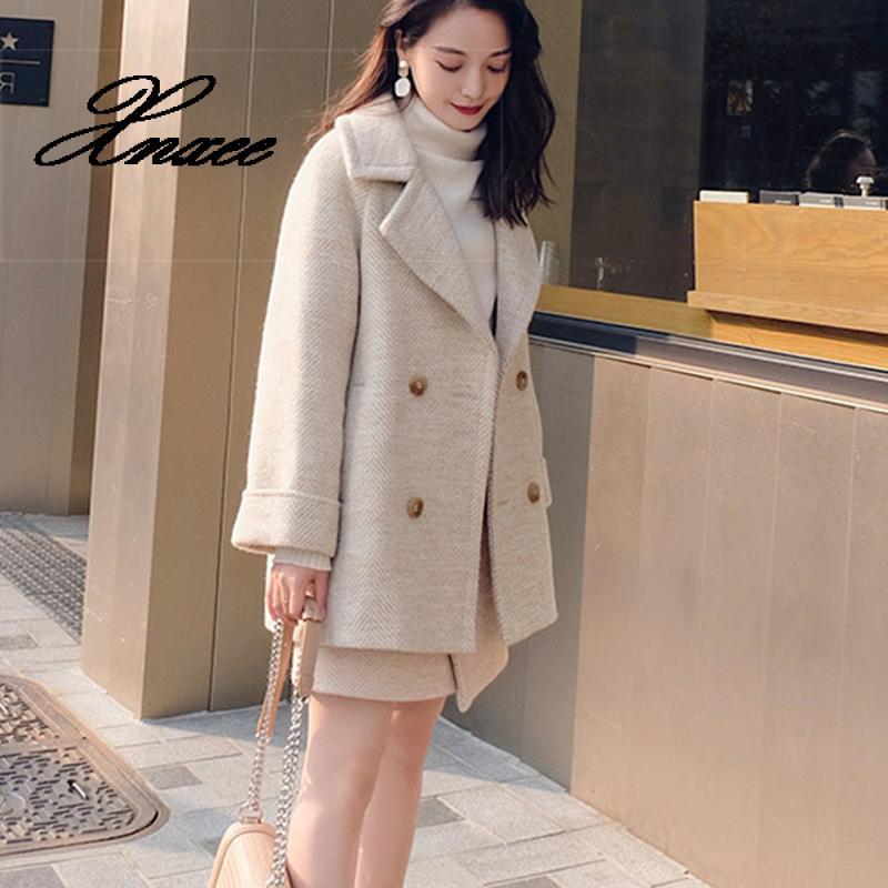 Xnxee 2019 Autumn Women Woolen Suit Office Lady Fashion Solid Double Breasted Blazer Female Elegant Two Piece Set