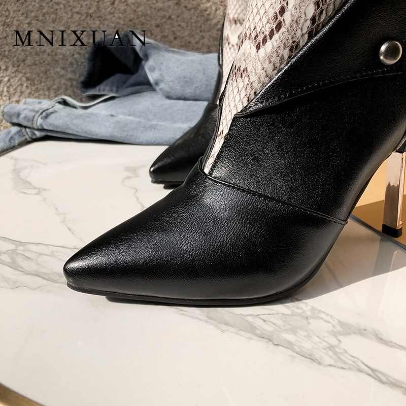 MNIXUAN 2019 ฤดูหนาวใหม่งูพิมพ์ Super high รองเท้าส้นสูงรองเท้าบูทสั้นผู้หญิงสุภาพสตรีรองเท้าแฟชั่นเซ็กซี่ plus ขนาด 9 43