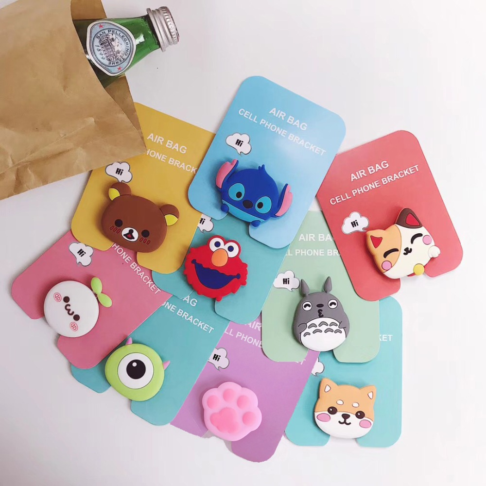Cute Universal Airbag Bracket Stitch Lucky Cat Phone Expanding Stand Cartoon Mobile Finger Holder Bear Milky Girl Cell Kickstand-in Phone Holders & Stands from Cellphones & Telecommunications