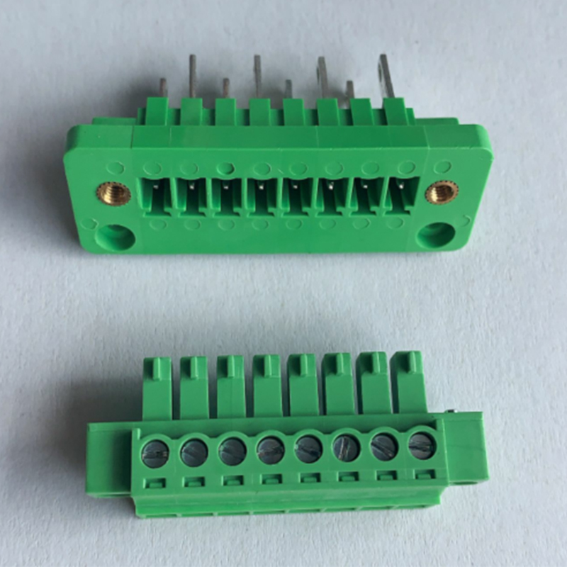 10sets 15EDGWB+KM-3.81mm Through-wall Plug-in Terminal Block With Flanged Fixed Panel Connector Row Line Arc