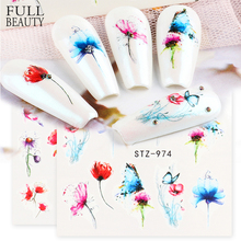 1pcs Butterfly Nail Art Slider Gradient Flower Stickers on Nails Water Decals Cute Cat Foils Manicure Accessories CHSTZ970-993