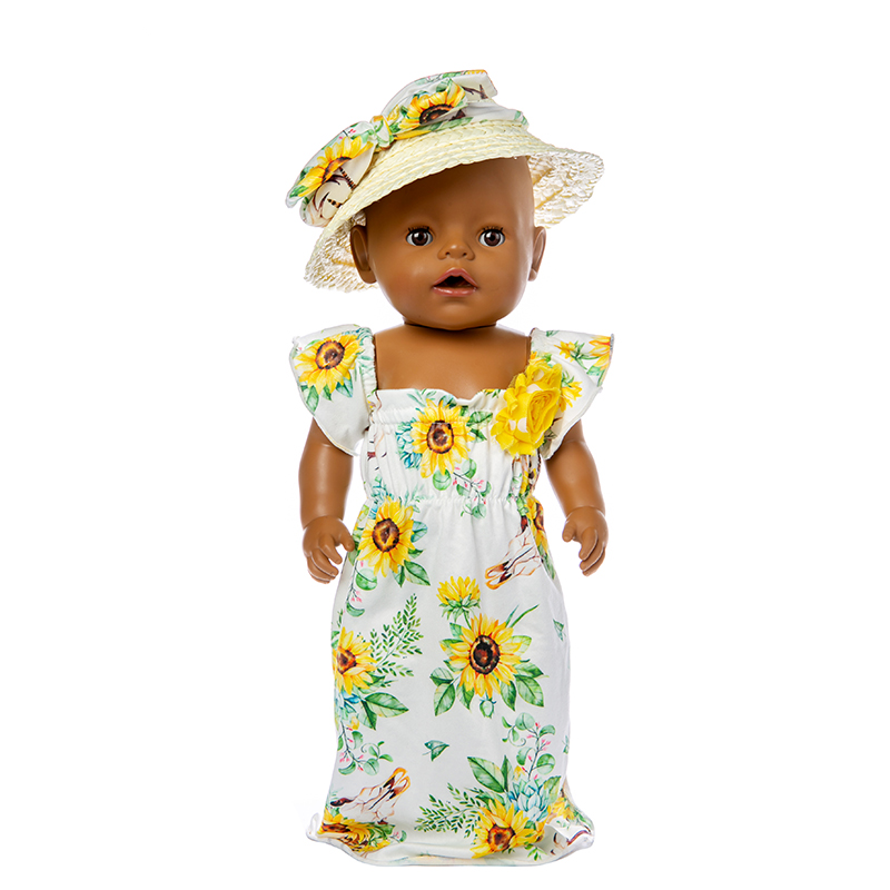 Born Baby Fit 18 inch 43cm Doll Clothes Accessories Rose Sunflower Rainbow Line Straw Hat Skirt Suit For Baby Birthday Gift in Dolls Accessories from Toys Hobbies