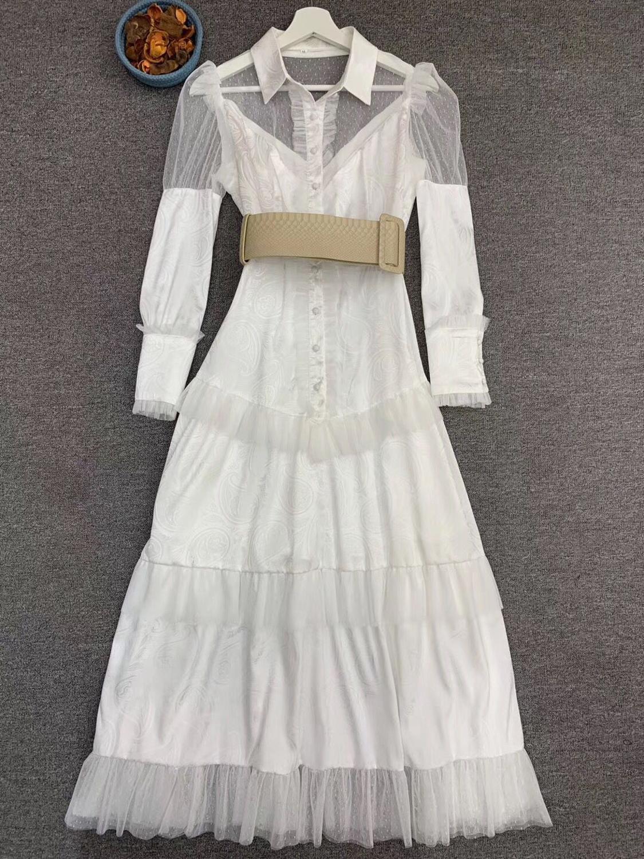 LINGHAN Imprimiu o Vestido Maxi do vintage das Mulheres Sexy Malha Patchwork Elegante Vestidos Plissados Partido Marca Designer Novo - 2