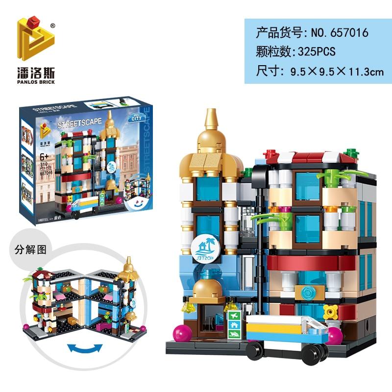 Mini Lego City Street View Block Retail Store Restaurant DIY Building Blocks Compatible lego technic Tech Building kids Toys - Цвет: 657016