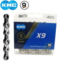 KMC X9 Bike Chain 116 Links MissingLink 9 Speed Cassette MTB Road Bicycle City Trekking Bike 18-27 Speed Chain Silver/Grey genuine kmc x8 x9 x10 x11 mtb bike chain 8 9 10 11 speed bicycle chain 116 links steel road bike chain with missing link
