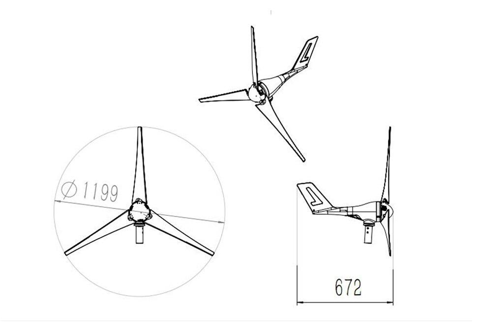 Dc 12v 24v 400w gerador de turbina