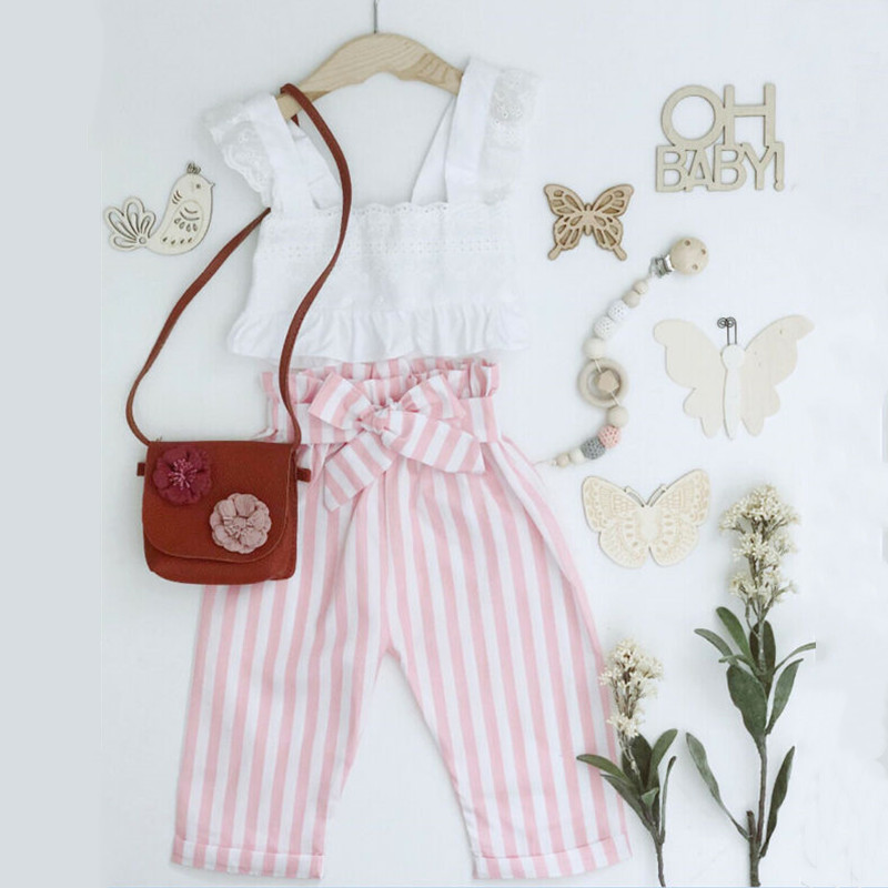 2pcs Newborn Toddler Infant Baby Girl Clothes Ruffle Sling T-shirt Sleeveless Top+Stripe Long Pants Trousers Outfit Set