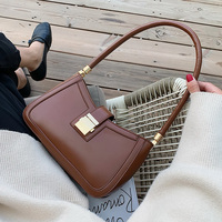 Solid Color PU Leather Shoulder Bags For Women 2020 Lock Handbags Small Travel Hand Bag Lady Fashion Bags|Top-Handle Bags| |  -