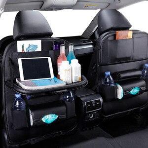 Image 4 - カーシートバックオーガナイザー収納袋旅行ホルダーカー用品ユニバーサルpuレザー自動車バックシートバッグプロテクターaccessoires