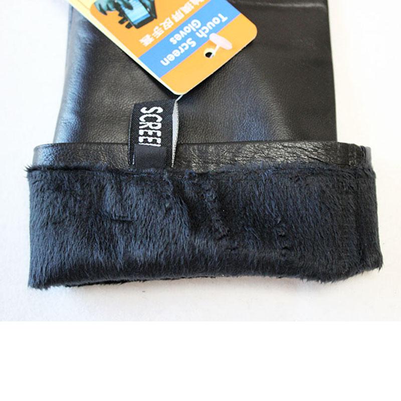 Duge kožne rukavice Ženski dodirni ekran Crna ovčja koža preko - Pribor za odjeću - Foto 6