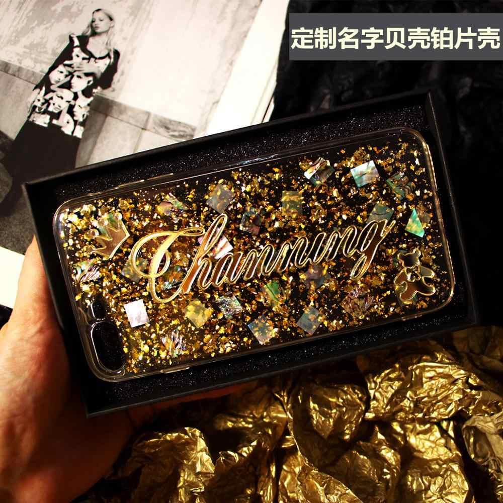 Чехол для телефона samsung Galaxy s7 s8 s9 s10 plus note 8 9 10 pro, оригинальный мягкий чехол с надписью и блестками