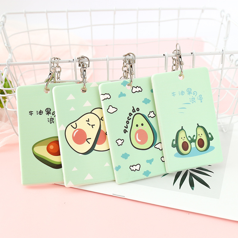 Kawaii Cartoon Fruit Avocado Cards Key ID Card Holder Name Tag Staff Business Badge Holder Office Supplies Stationery