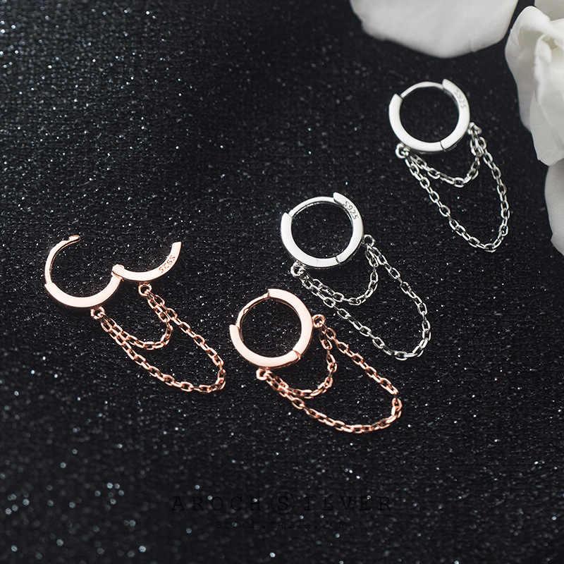 الثقة الحد الأدنى حقيقية 925 فضة طبقة مزدوجة ربط سلسلة كليب أقراط للنساء مجوهرات الزفاف هدية DA544