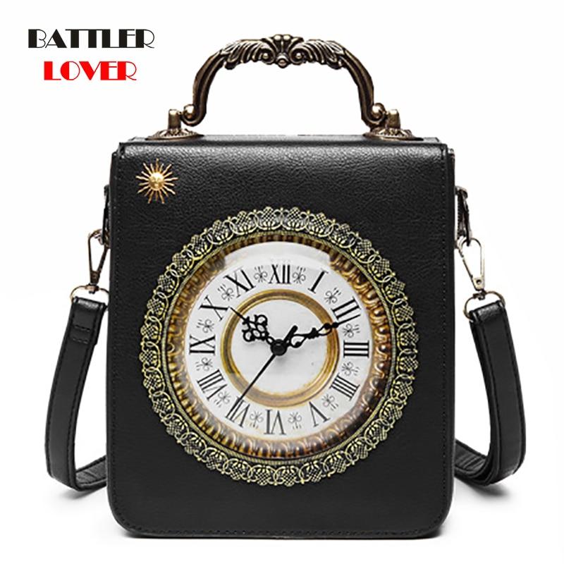 Creative Alarm Clock Package Handbag Women Simulation Retro Watch Fashion Women's Shoulder Bag Handbags Dropship Steampunk Bags
