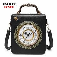Handbag Women Steampunk-Bags Creative Dropship Alarm-Clock Shoulder-Bag Fashion Watch