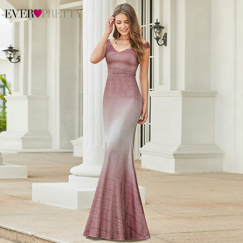 Sparkle Burgundy Prom Dresses Ever Pretty EP00939BD Double V-Neck Sleeveless Draped Mermaid Formal Dresses Vestidos De Gala 2020