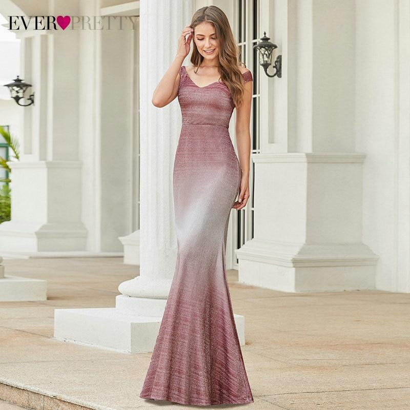 Sparkle Burgundy Prom Dresses Ever Pretty EP00939BD Double V-Neck Sleeveless Draped Mermaid Formal Dresses Vestidos De Gala 2020