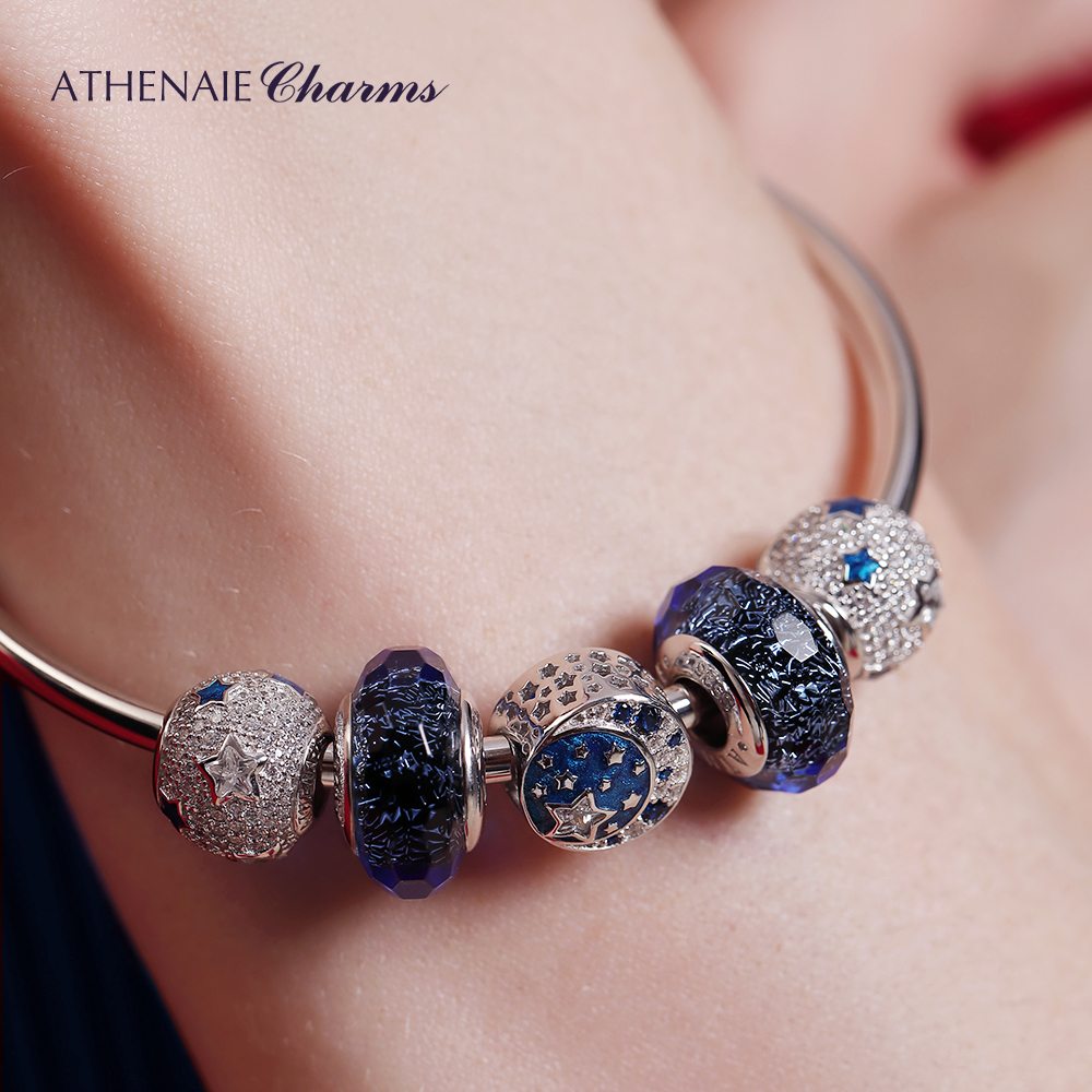 Image 3 - ATHENAIE Authentic 925 Sterling Silver Starry Sky Charms Bracelet Bangles with CZ Charm Beads for Women Christmas Day GiftBracelets & Bangles   -