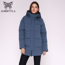 Aorryvlaカジュアル女性の冬のジャケットロングフード女性のコート高品質暖かい生き抜く女性パーカープラスサイズ2020
