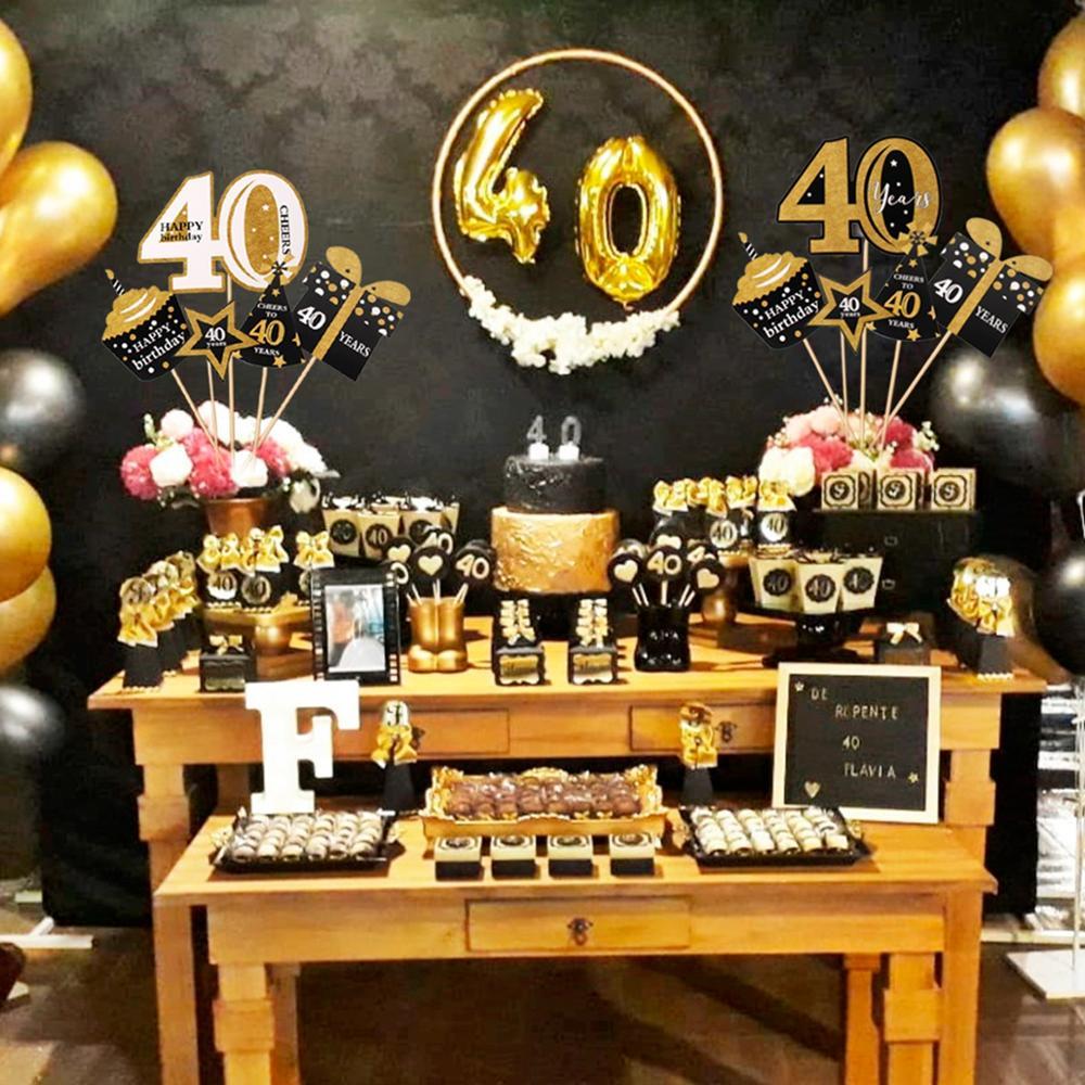 Шарик QIFU из черного золота с цифрами 40, украшение для вечеринки в честь Дня Рождения взрослых, товары для 40-летнего дня рождения, шар на годов...