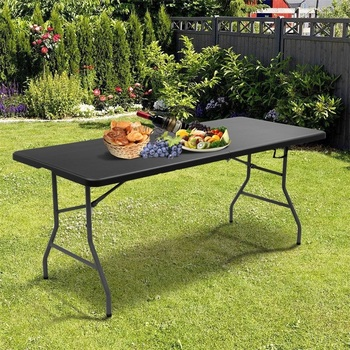 6' High Quality Steel Folding Portable Plastic Outdoor Camp Table Mutipurpose Foldable Top and Legs Outdoor Party Folding Table