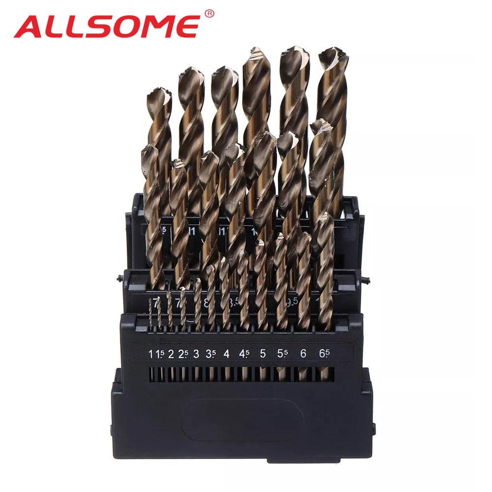 Twist-Drill-Bit-Set Cobalt Wood Stainless-Steel ALLSOME M42 Hss for Metal Drilling 3-Edge-Head