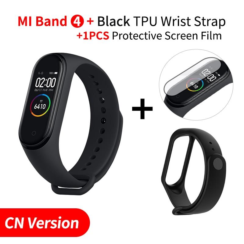 Xiaomi mi Band 4 Smart mi band 3 Цвета экран Браслет фитнес-трекер для измерения сердечного ритма Bluetooth 5,0 водонепроницаемый банда4 - Цвет: Add Black Strap