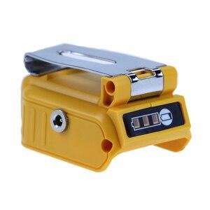 Podwójny Port USB DC 12V 60W z wyświetlaczem LED klips przetwornica do baterii Adapter do akumulatora litowo-jonowego DEWALT 18V 20V