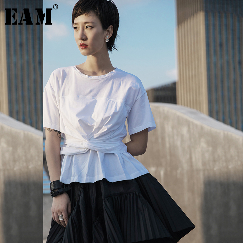 [EAM] Women White Knot Pleated Split Joint Brief T-shirt New Round Neck Short Sleeve  Fashion Tide  Spring Summer 2020 1T069