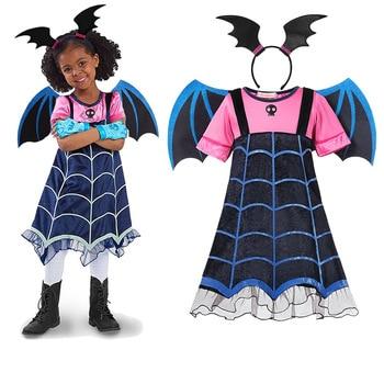 Kids Winged Vampire Cosplay Dress Girl Halloween Party Children Vampirina Costume Horror Night Clothes Cartoon Role Play Sets