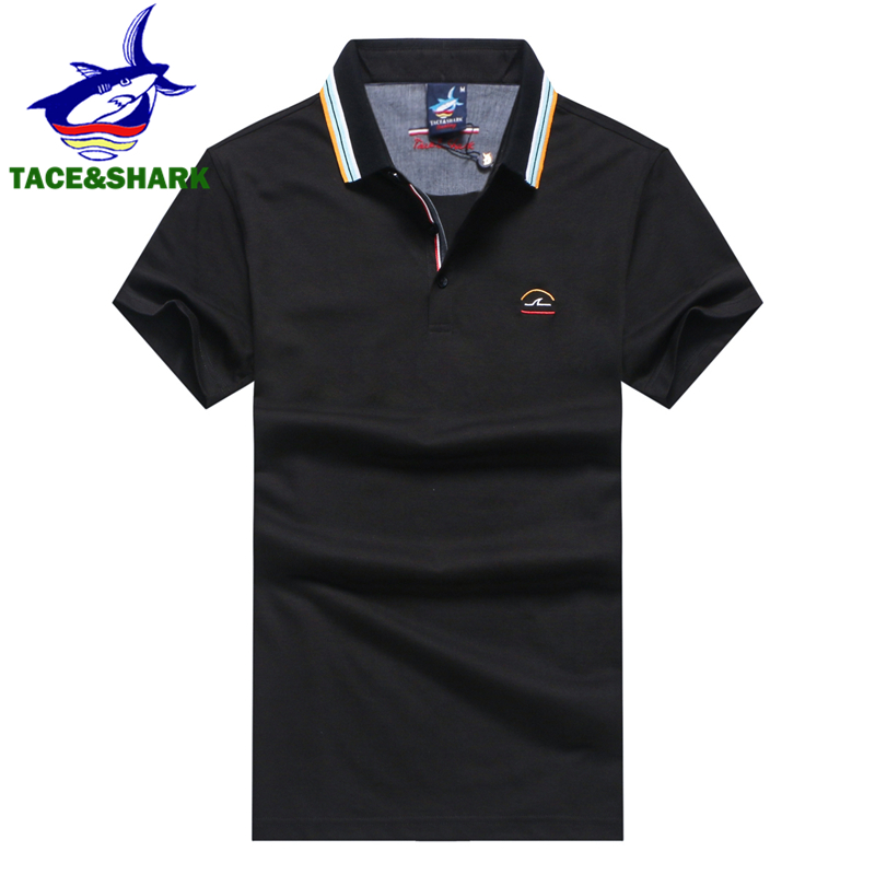 TACE&SHARK Brand Clothing New Men   Polo   Shirt Men Business & Casual Solid Male   Polo   Shirt Shark Breathable   Polo   Shirt