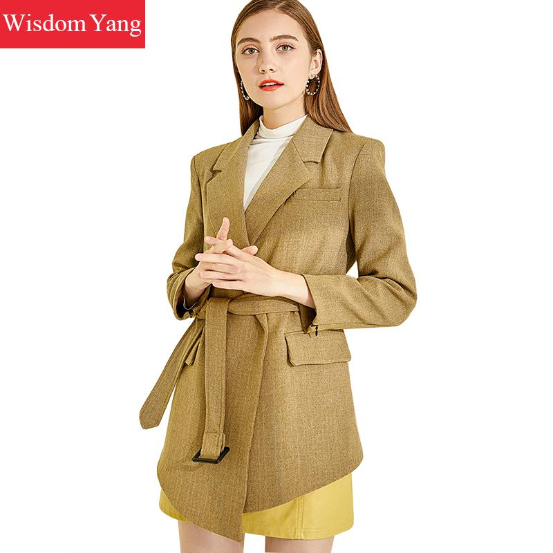 Spring Suit Jackets Womens Female Wrap Coats Slim Elegant Khaki Business Suits Coats Jackets Office Ladies Outerwear Overcoat