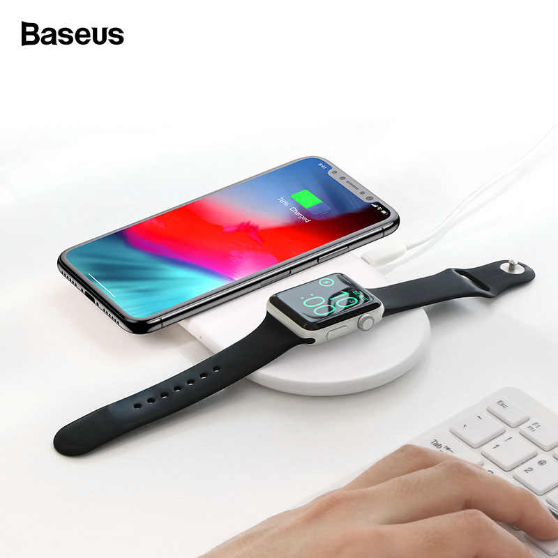 Baseus 10 ワット 2in1 チーワイヤレス充電器 Iphone XS 最大 XR × 三星高速 iWatch 用のパッドの充電 3 2 デスクトップ充電器