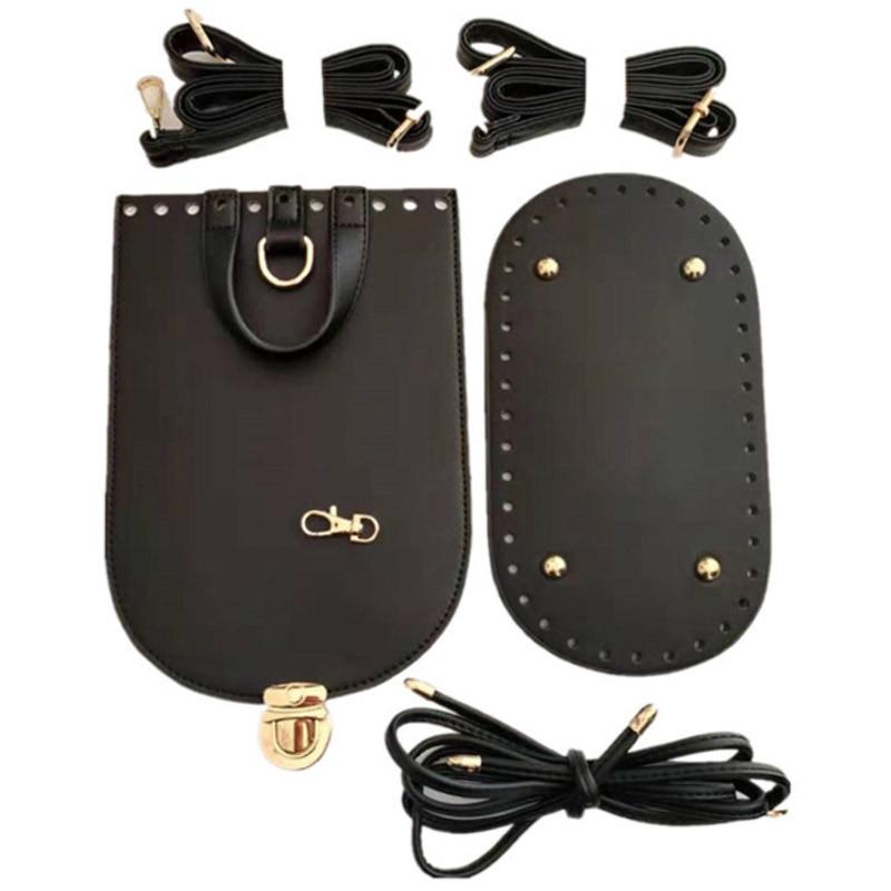 5PCS Set DIY PU Leather Bag Backpack Women Handmade Handbag Shoulder Strap Woven Bag Set Bag Bottoms With Hardware Accessories