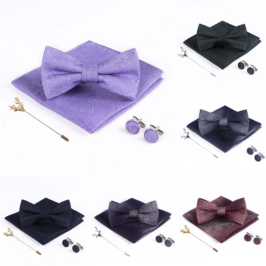 Dreaming Purple Paisley Wedding Bowties For Men Neck Ties Gold Christmas Moose Brooch Cufflinks Handkerchief Silk Bow Tie Set