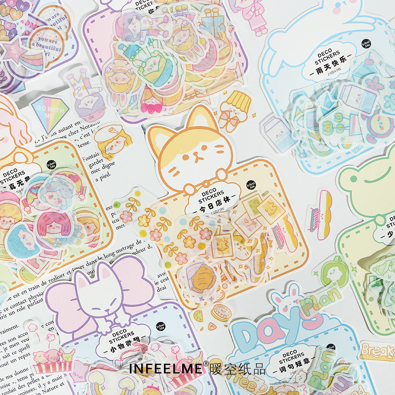 40pcs/pack Lovely Girls Animals Sticker Decoration Diy Scrapbooking Stickers Stationery Kawaii Diary Label