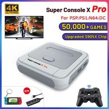 Console super retro x pro de wifi com 50000 jogos com controladores sem fios de 2.4g 4k consolas de jogos de vídeo da tevê hd para psp/n64/dc/ps