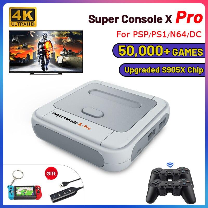 רטרו WiFi סופר קונסולת X Pro 4K HD טלוויזיה משחק וידאו קונסולות עבור PS1/PSP/N64/DC עם 50000 + משחקים עם 2.4G Wireless בקרי