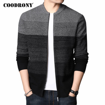 COODRONY Cardigan Men Fashion Casual Zipper Coat Cardigans Autumn Winter High Quality Thick Warm Wool Knitwear Sweater Men C1119 coodrony brand sweater men zipper turtleneck cardigan men clothing autumn winter thick warm 100% merino wool sweater coat p3026