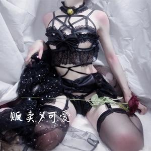 Image 3 - Japanese Womens Sexy Cosplay Costume Lingerie Set Strappy Corset Night Sleepwear Underwear Dress Demon Anime Lingerie