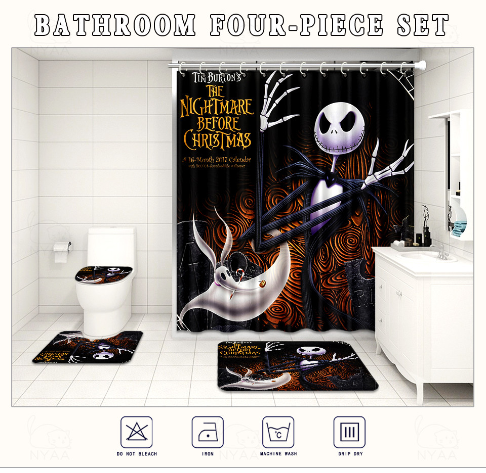 The Nightmare Before Christmas Bathroom Rug Shower Curtain Toilet Lid Cover 4PCS