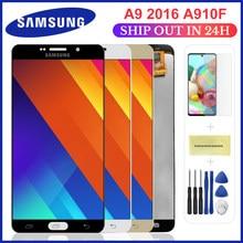 Tela lcd a910 para samsung galaxy a9, substituição para digitalizador touch screen a9 pro a910 a9100