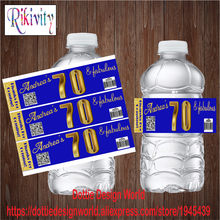 20/ 70 60th Navy Blue Water Bottle Wine Champagne Labels Candy Bar wrapper Sticker Wedding Baby shower Birthday Party decoration(China)